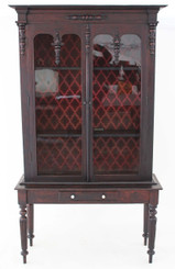 Antique William IV Victorian 19C mahogany bookcase cupboard on table stand