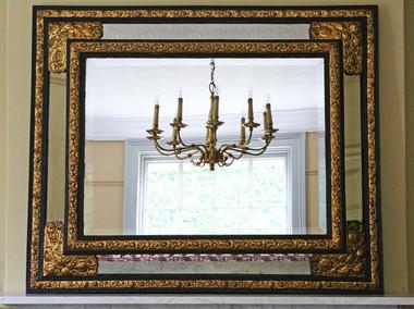 Antique Victorian ebonized / gilt cushion wall mirror overmantle Dutch