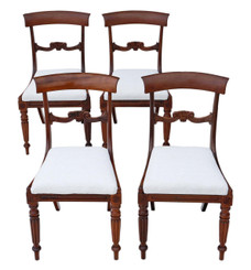 Antique quality set of 4 William IV rosewood bar back dining chairs