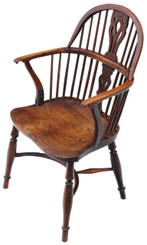 Antique early 19C elm & yew Windsor armchair chair hall side dining carver