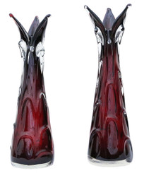 Antique quality pair of red art glass vases
