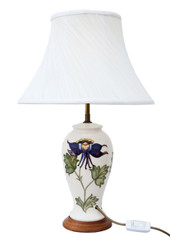 Antique quality Moorcroft ceramic table lamp with shade
