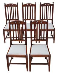 Antique quality set of 5 oak high back Art Nouveau dining chairs C1900-1920
