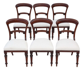 Antique set of 6 Victorian mahogany balloon back dining chairs