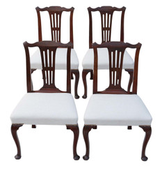 Antique set of 4 mahogany Georgian dining chairs