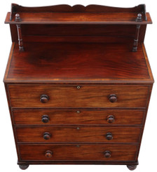 Antique Regency William IV mahogany secretaire desk writing chest of drawers