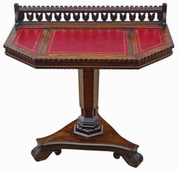 Antique Victorian quality Gothic oak C1880 writing table desk