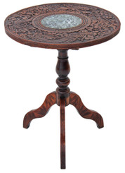 Antique Victorian 19C oak walnut marble occasional lamp side table