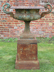 Large antique cast iron planter classical urn on plinth