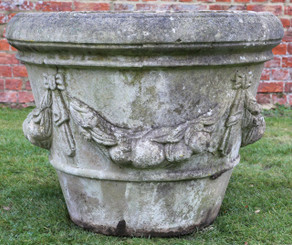Large antique style cast stone planter plant pot