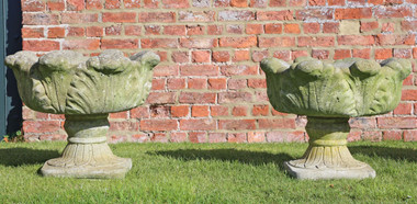Antique pair of cast stone planters plant pots urns