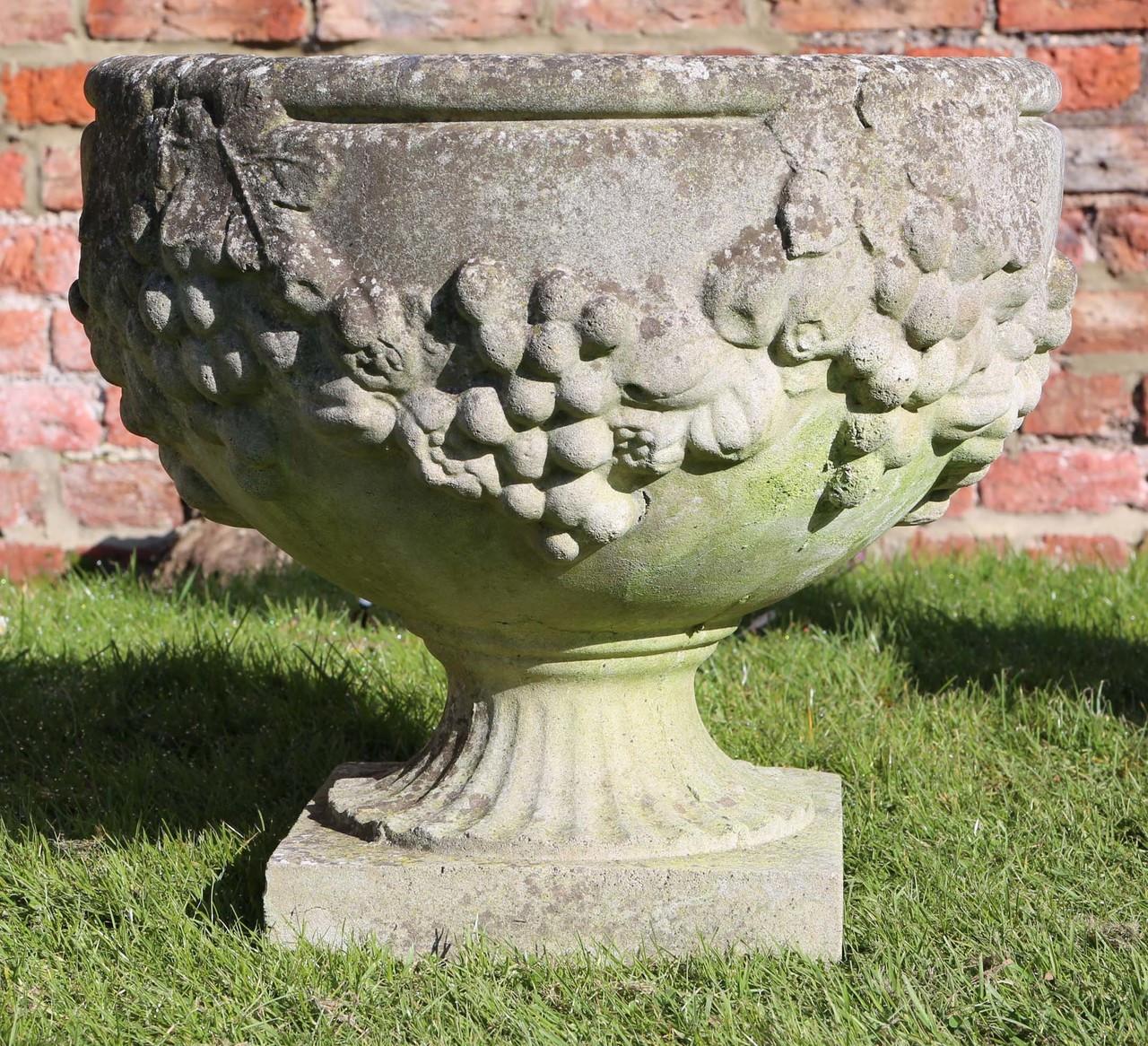 Prior \u0026 Willis Antiques & Large antique vintage cast stone planter plant pot urn ...