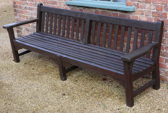 "Heavy antique hardwood 8'6"" garden or park bench"