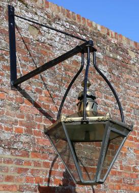 Large huge reclaimed antique garden brass lantern