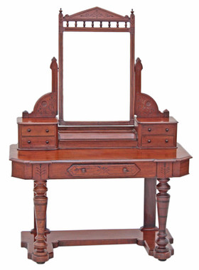 Antique 19C Victorian mahogany walnut Duchess dressing table