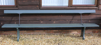 Large heavy antique 9' double sided railway platform bench garden or park