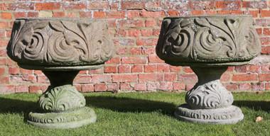 Antique pair of cast stone planters urns plant pots