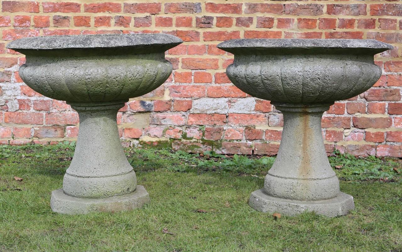 Antique Pair Of Lightweight Stone Urns Planters Plant Pots Prior