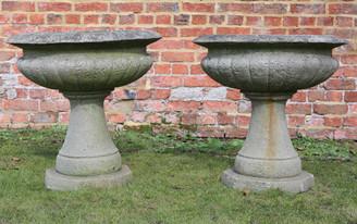 Antique pair of lightweight stone urns planters plant pots