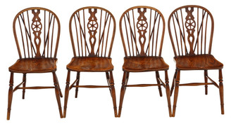 Antique set of 4 ash and elm C1910 kitchen dining chairs Windsor