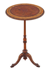 Antique 19th Century walnut and leather wine table side