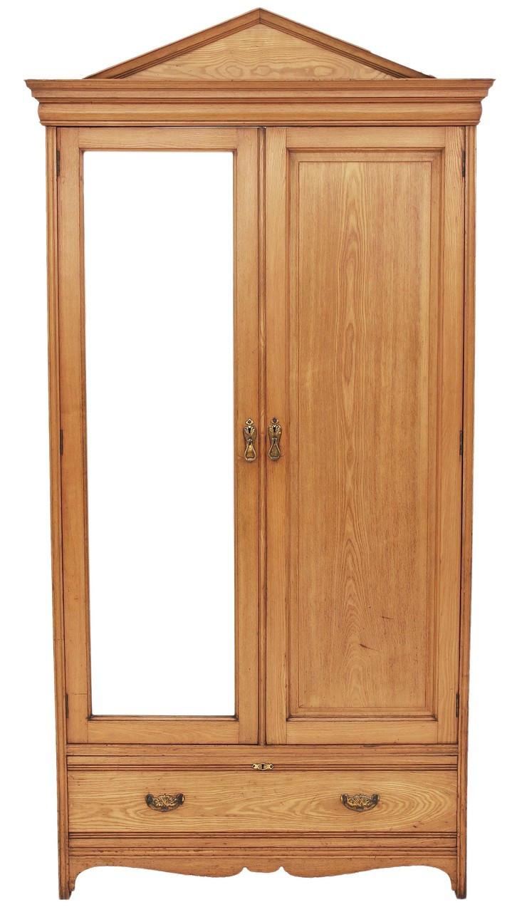 Antique Large Tall Gothic Victorian 19c Ash Wardrobe Oak