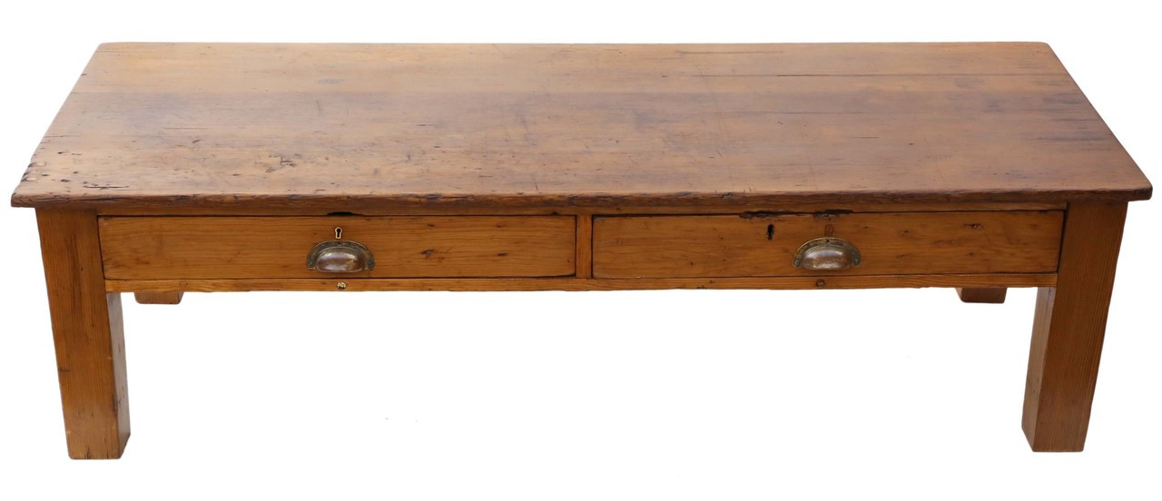 Antique Victorian Rustic Scrub Top Pine Coffee Table With