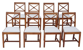 Antique set of 8 quality oak dining chairs Waring and Gillow C1900