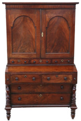 Antique quality Georgian C1800 mahogany housekeeper's cupboard secretaire