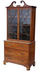 Antique Georgian C1780 mahogany secretaire bookcase