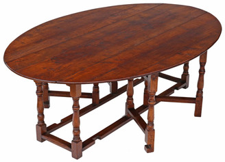 "Antique large quality oak Georgian style oval wake dining table 7'6"" x 5'"