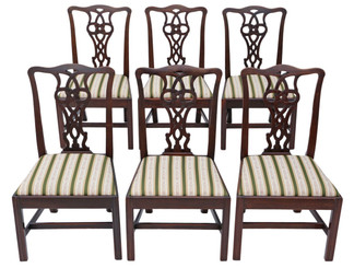 Antique set of 6 Victorian C1890 mahogany Chippendale revival dining chairs