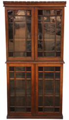 Antique quality late Victorian C1890 oak glazed 2 part bookcase