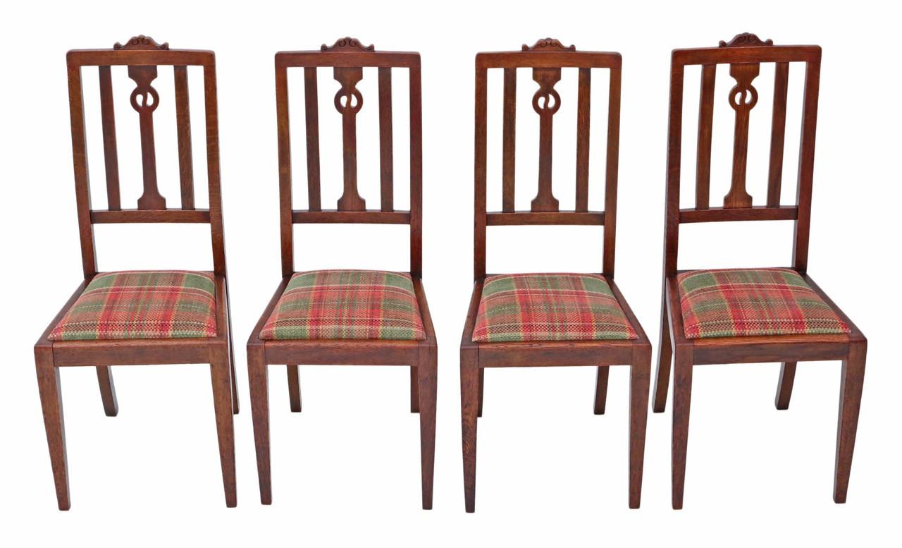 Antique Quality Set Of 4 Art Nouveau Oak Dining Chairs Prior