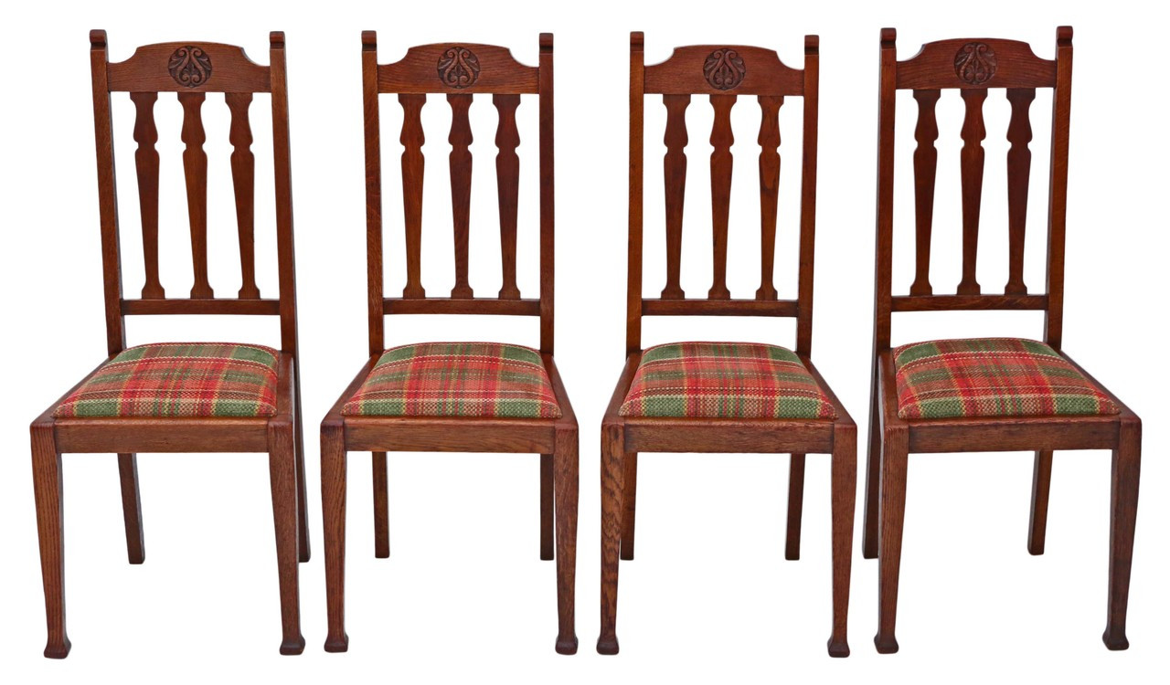 Antique Quality Set Of 4 Oak Dining Chairs Art Nouveau Prior