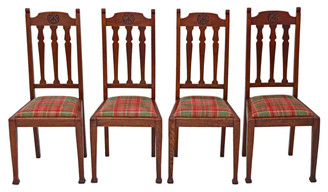 Antique quality set of 4 oak dining chairs Art Nouveau