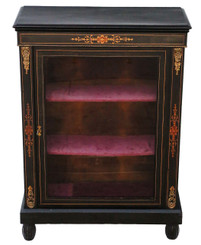 Antique ebonised pier display cabinet marquetry inlays