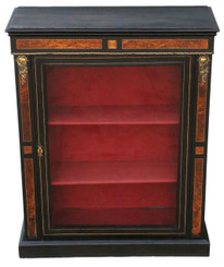 Antique ebonised and amboyna pier display cabinet C1890
