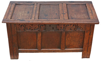 Antique 18th Century & later Georgian oak coffer or mule chest