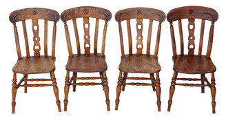 Antique set of 4 beech & elm kitchen dining chairs
