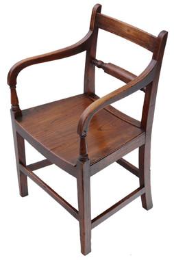 Antique quality Georgian C1800 elm elbow desk chair