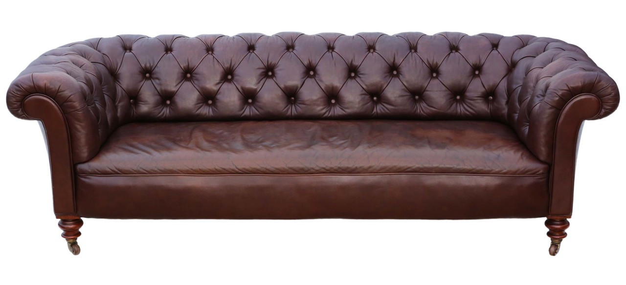 Antique quality Victorian C1860 leather button backed chesterfield ...
