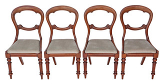 Antique quality set of 4 Victorian C1850 mahogany balloon back dining chairs