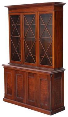 Antique quality late Victorian C1900 mahogany & walnut part glazed bookcase