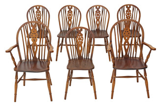 Antique set of 7 (5+2) beech & elm Windsor kitchen dining chairs