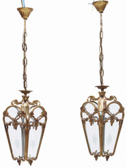 Antique pair of ormolu hanging lanterns hall chandeliers FREE DELIVERY