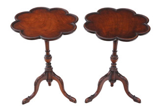 Antique pair of quality Georgian reproduction mahogany wine tables side