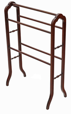 Antique quality Victorian C1900 mahogany towel rail stand