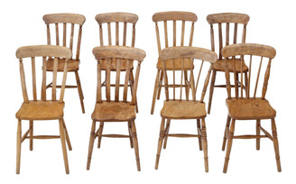 Antique matched set of 8 Victorian ash & elm kitchen dining chairs
