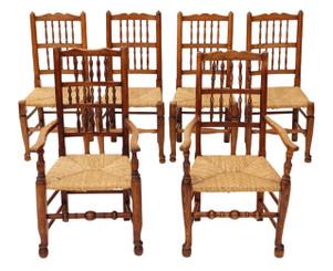 Antique set of 6 (4+2) Victorian Lancashire elm kitchen dining chairs